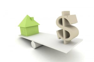 animated-picture-of-green-house-and-white-money-symbol-on-seesaw